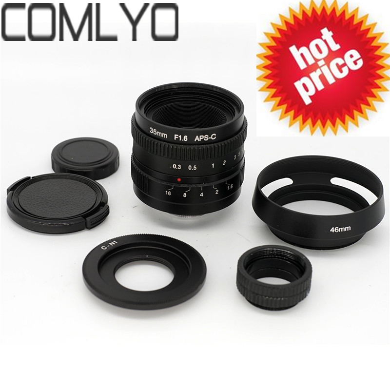 US $50 65 20% OFF|FOR SONY 35mm f1 6 33mm f/1 6 Micro Camera Lens for Nikon  1+C Nikon1 adapter+camera Lens hood+macro ring*2 +Nikon1 lens rear cap-in