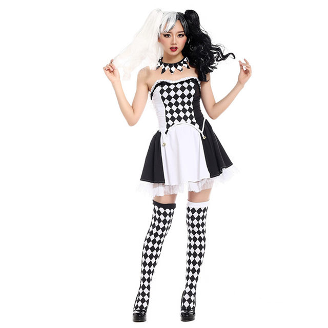 Sexy Female Halloween Masquerade Costumes Stage Clown Dress Black And White Grid Pattern Spirit Festival Disfraces H169149