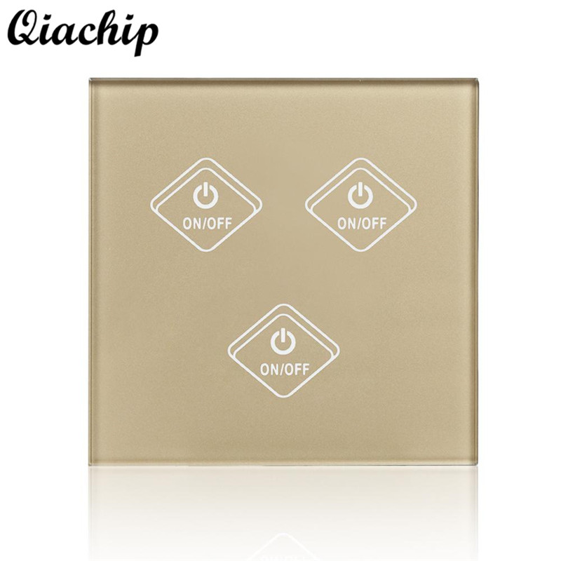 QIACHIP AC 220V WiFi Smart 3 Gang 1 Way Wall Switch Remote Control Work With Amazon Alexa For Smart Home Light LED Touch Switch 2017 smart home crystal glass panel wall switch wireless remote light switch us 1 gang wall light touch switch with controller