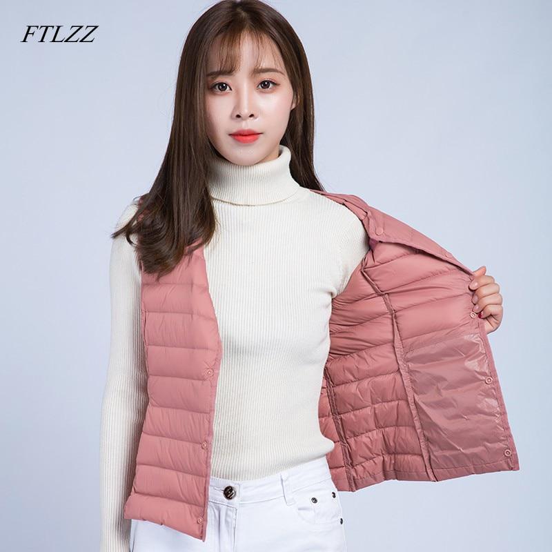FTLZZ New Ultra Light Vests   Down   Jacket   Coat   Autumn Winter Women Sleeveless Slim Short Single Breasted Sleeveless Waistcoat