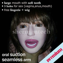 Semi-solid inflatable oral sex doll beautiful large mouth blowjob auto suction pump doll with 3 holes for sex free shipping DHL