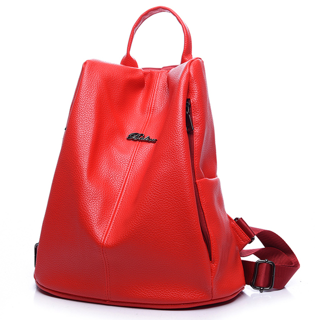 2016 Big Korean College Style PU Leather Backpack Women Backapcks School Bags For Teenage Girls Bagpack Travel Bags Mochila Red
