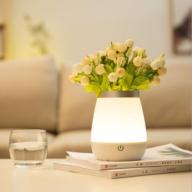 JIPUSH New Fancy Vase Lamp Night Lights Recharging Bedroom Bedside Lamp Creative Home Decoration Gift Lamp LED Atmosphere Lamp
