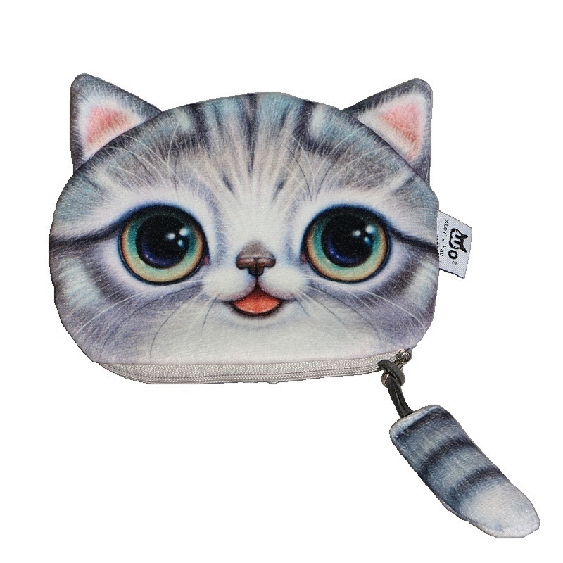 2016 New Small Tail Cat Coin Purse Cute child Cartoon Wallet Kawaii Bag Coin Pouch Children Purse Holder Women Coin Wallet,SKU1C