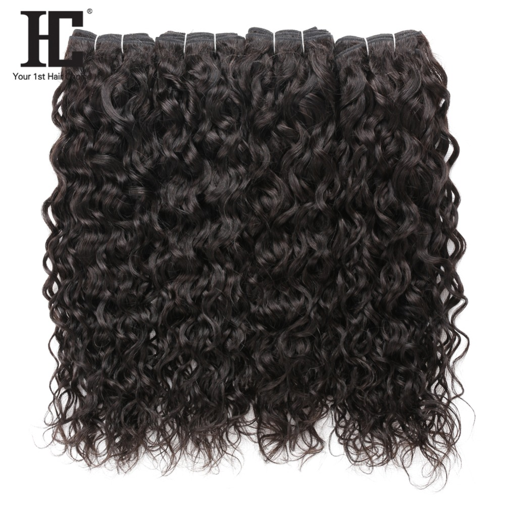 HC 100% Human Hair Bundles Water Wave Brazilian Hair Weave 4 Bundles Natural Black Non Remy Hair Extensions Free Shipping-in 3/4 Bundles from Hair Extensions & Wigs    1
