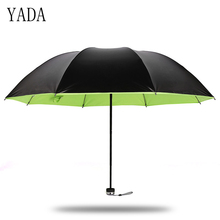 YADA NEW Cute Green&Yellow Design Solid Color Women Folding Rainy Umbrella Anti-UV Lovely Waterproof Parasol Gift YD018