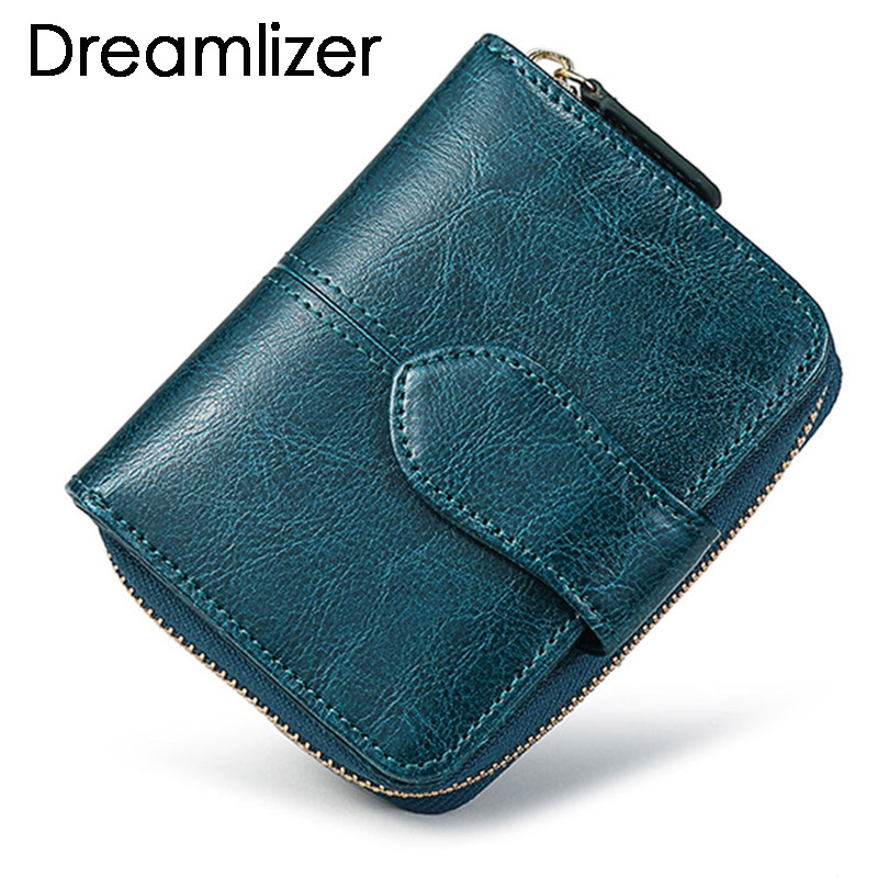 Bifold Oil Wax Genuine Leather Women Mini Clutch Wallet Soild Color Coin Pocket Purse Women Leather Card Holder Wallet Bag women purse solid color mini grind magic bifold leather wallet card holder clutch women handbag portefeuille femme dropshipping