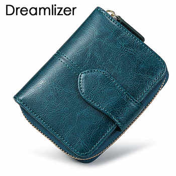 Bifold Oil Wax Genuine Leather Women Mini Clutch Wallet Soild Color Coin Pocket Purse Women Leather Card Holder Wallet Bag - DISCOUNT ITEM  50 OFF Luggage & Bags
