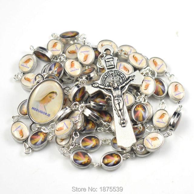 Envío libre color de moda de la aleación del grano del rosario de un lado otro lado de Jesús María