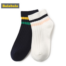 Balabala 2 pairs/lot girls socks Solid children socks black and white color Casual sock for fashion kid Sport Short Students(China)