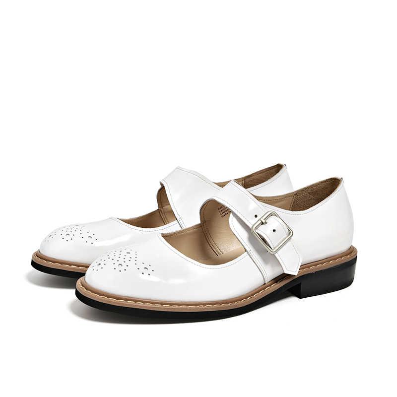 BeauToday kadınlar Mary Jane ayakkabı Patent deri tatlı tarzı Brogues yuvarlak Toe toka askı el yapımı bahar bayan ayakkabıları 24028