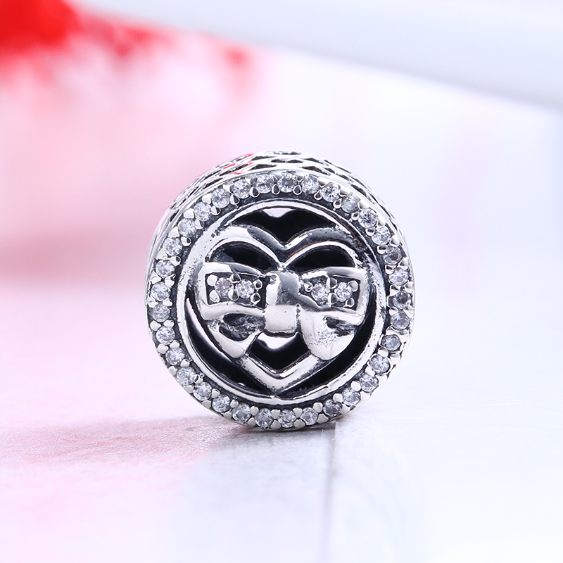 100% 925 Sterling Silver Fit Original Pandora Bracelet Loving Ties Charm Clear CZ DIY Charm Beads for Jewelry Making Gift