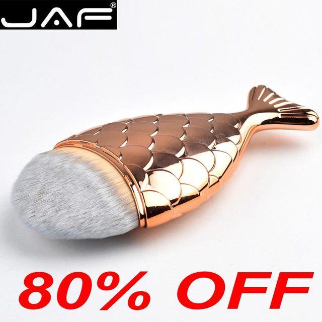 Las Fuerzas Armadas Jordanas sirena maquillaje cepillo de gran tamaño oro pescado Taklon Fundación pincel con Protector DE PLÁSTICO Cap-gran venta envío gratis