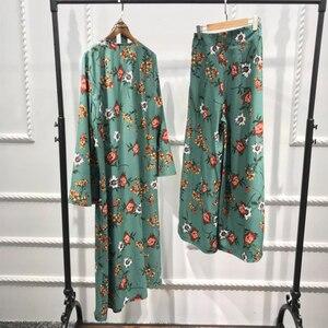 Image 3 - Abaya Kimono Set Kaftan Robe Dubai Islam Muslim Hijab Kleid Kaftan Marocain Ramadan Elbise Katar Oman Türkisch Islamische Kleidung