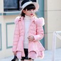 girls winter coat plus velvet thick winter large child winter imitation fur pu leather long coat coat for adolescents Blue pink