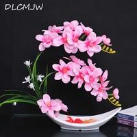 Artificial Flowers Desktop Bonsai Decorate Silk flowers Artificial Orchid For Wedding Home Garden Mini Bonsai decor flowers