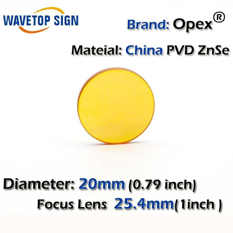 China PVD ZnSe CO2 Laser Focusing Lens Dia. 20mm FL 38.1mm 1.5inch Cutting Engraving Machine Accessories Carving Parts best quality aluminum laser head for co2 laser cutting engraving machine lens dia 20mm fl63 5mm left in beam
