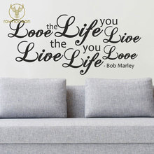 Love The Life You Live Lyrics Wall Quote Sticker Bob Marley Decal Art Home Decor for living Room Bedroom Removable Mural 3Q06 live love waterproof removable wall sticker for home decor