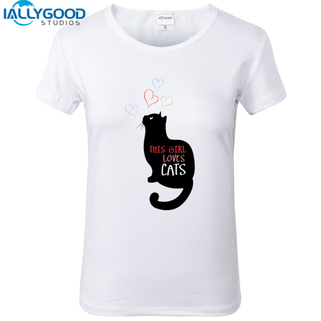 Summer Cute Black Cat T Shirt Women Funny This Girl Loves Cats Letter  Printed T-shirts Soft Cotton Short sleeve White Tops S1501 eaad352e5e