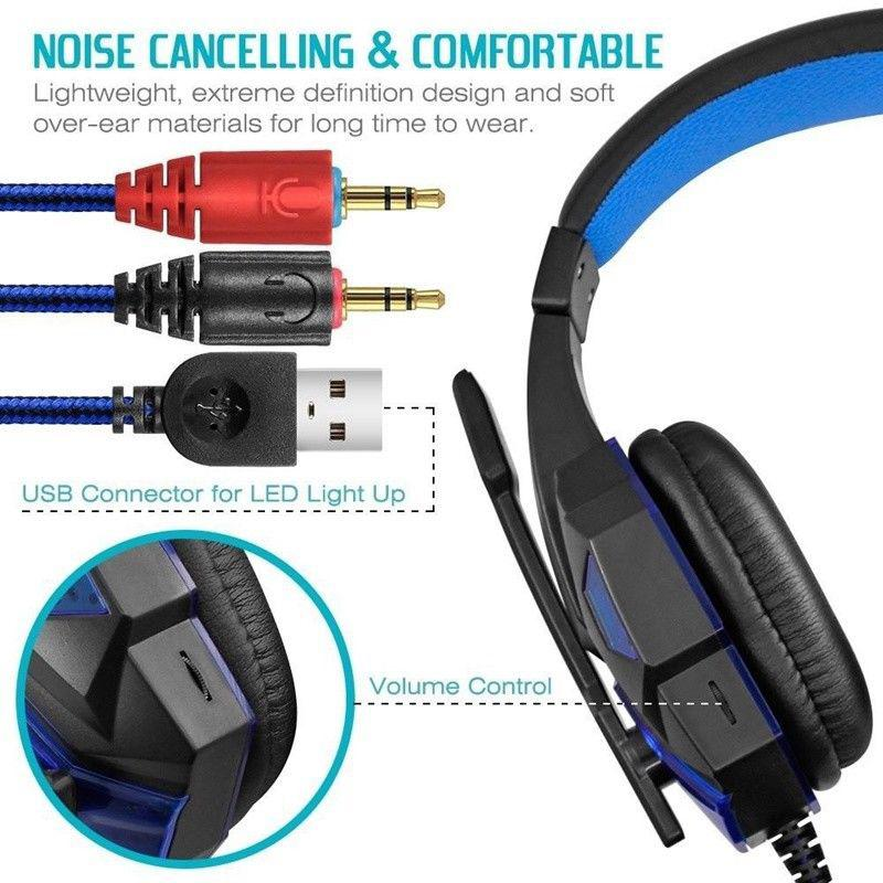 HobbyLane PC780 Wired Gaming Headphone Earphone Gamer Headset Stereo Sound with Microphone LED Audio Cable for Game for PS4 d25