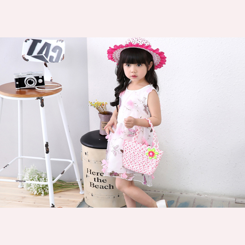 2019 new summer cute fashion children straw hat girl princess face hat travel sunshade beach hat bag two-piece