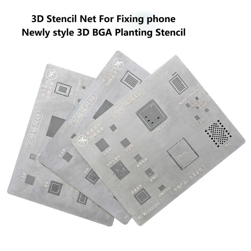 Ultrathin A8 A9 A10 3D Stannum Reballing Net BGA Repair Tool Net for Repair Cellphone and Little Accessories IC Chip Replacement 2piece 100% new for ite it8517vg hxs bga ic for motherboard repair