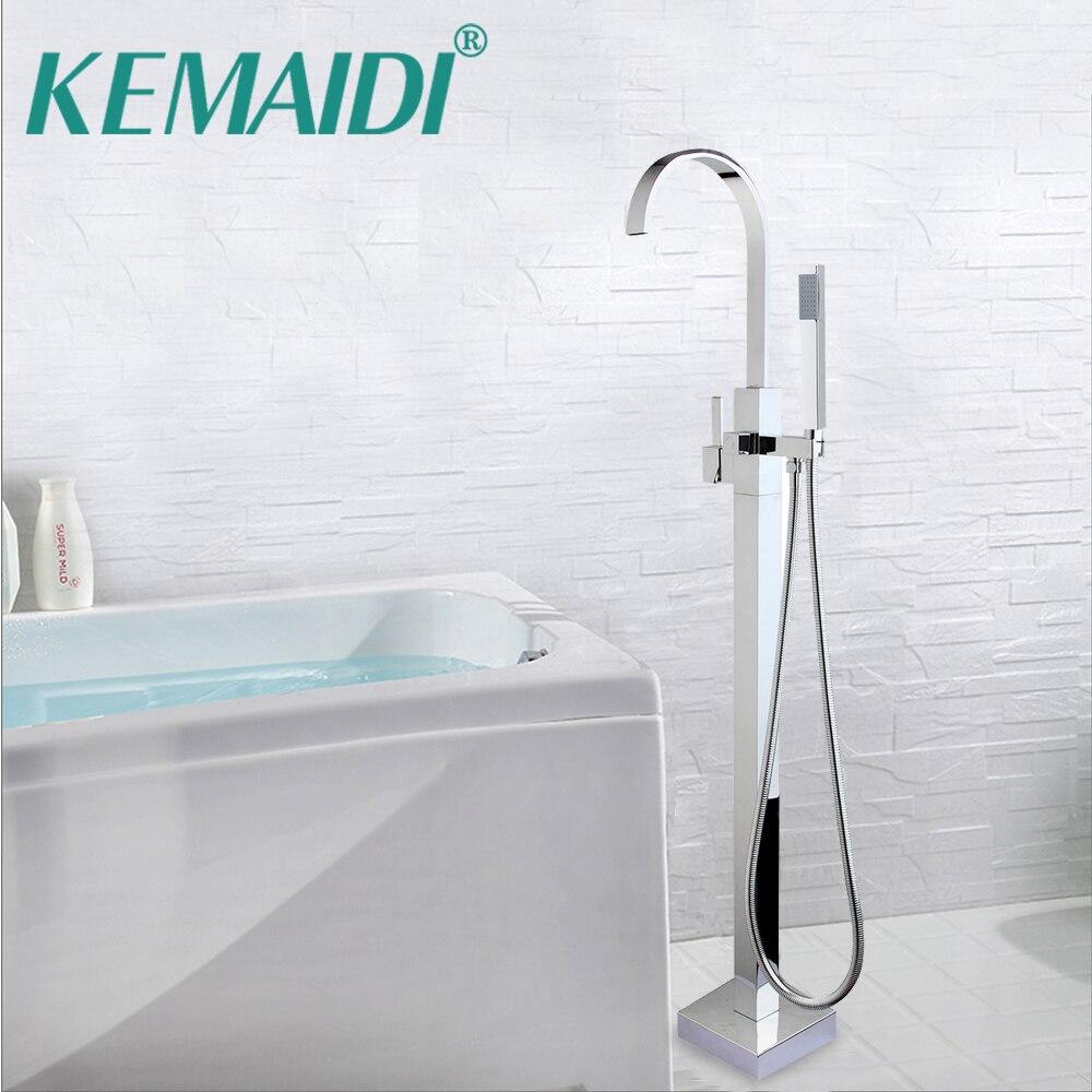 KEMAIDI salle de bain cascade baignoire Torneira robinet de douche Set au sol Chrome poli lavabo évier en laiton robinet mitigeur robinet