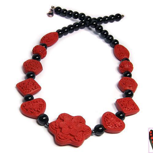 Vintage cinabre noir Onyxes fait à la main dames bijoux 20 pouces collier de perles, parfait mariage anniversaire femmes cadeau bijoux