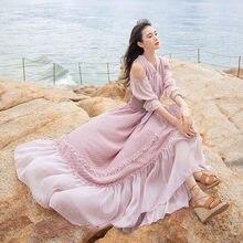 Женское шифоновое платье макси с оборками длинное рукавом до