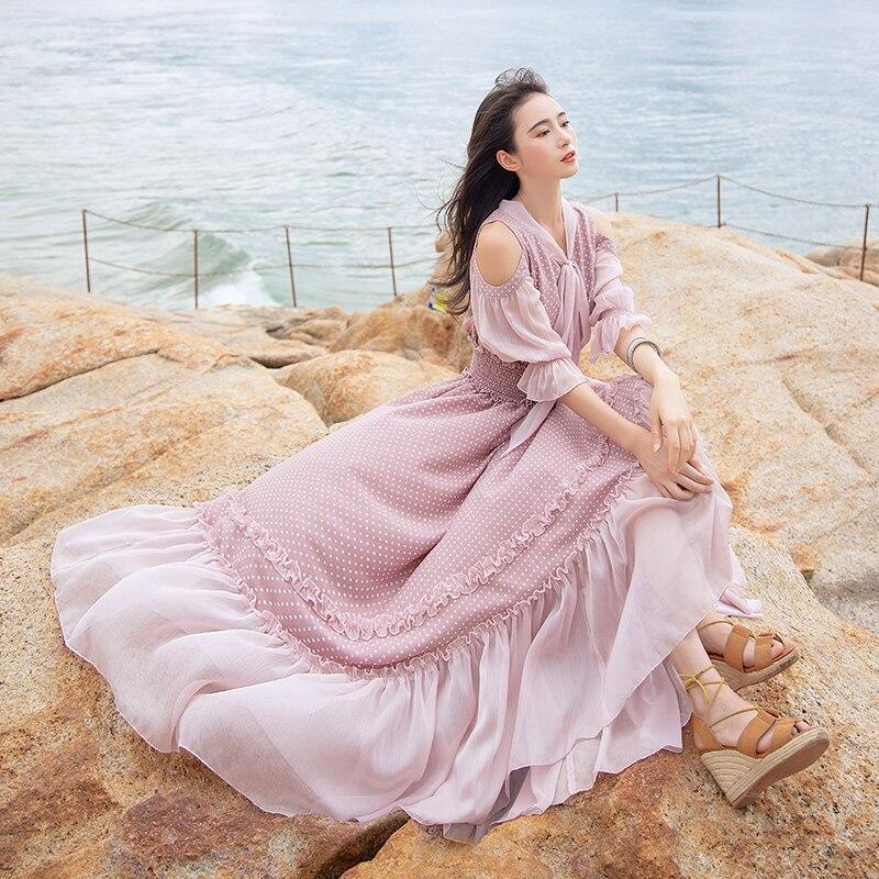 Kadın Giyim'ten Elbiseler'de Ücretsiz Kargo 2019 Moda Kadın Şifon Uzun Maxi Ruffles Yarım Kollu Elbiseler Yaz Boshow Bohemian Nokta Bandaj Yay Elbise S L'da  Grup 1