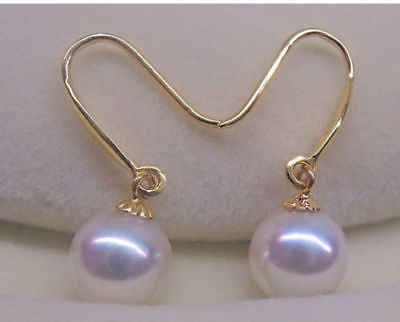 Beautiful a pair AAA 10-11mm south sea round white pearl dangle earrings
