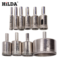 HILDA 10PCS Set 8 50mm Diamond Coated Core Hole Saw Drill Bits Tool Cutter For Tiles