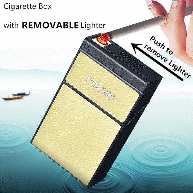FOCUS Cigarette Box with Removable Electronic Lighter USB 20pcs Cigarette Holder Plasma Turbo Novelty Lighter Gadgets for Men