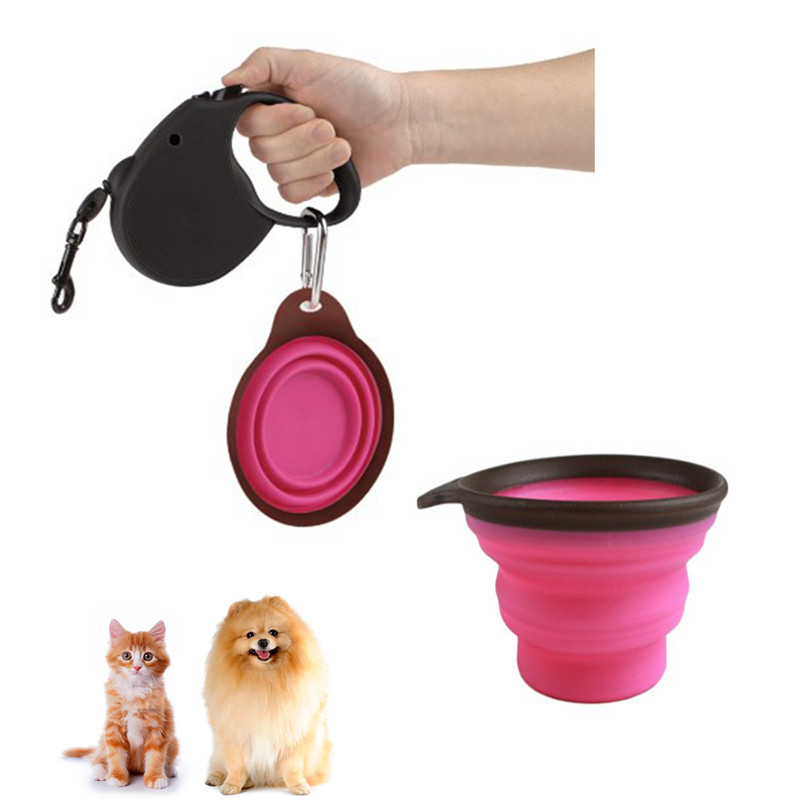 Portable Dog Pet Travel Collapsible Food Water Bowls Pets: Portable Pet Dog Cat Collapsible Travel Bowl Feeding Food