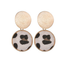 Fashion Round Leopard Earrings Women Cute Colorful Fur Gold Color Pendant Dangle Earrings For Women Statement Jewelry Gift(China)