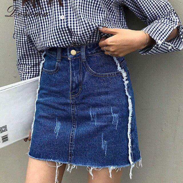 b422c4bde7 2017 Summer Women Tassels Denim Skirt Button Black Jeans Female A-line Mini  Skirts Blue Big Size Patchwork Cotton XL Skirts