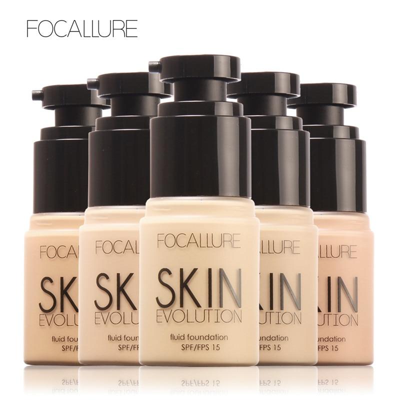 FOCALLURE Brand Makeup Face Foundation Natural Color Moisturizer Oil Control Base Liquid Foundation Skin SPF15 Maquiagem