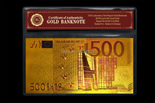 European 500 Colorful EURO Plated Gold Commemorative Paper Money