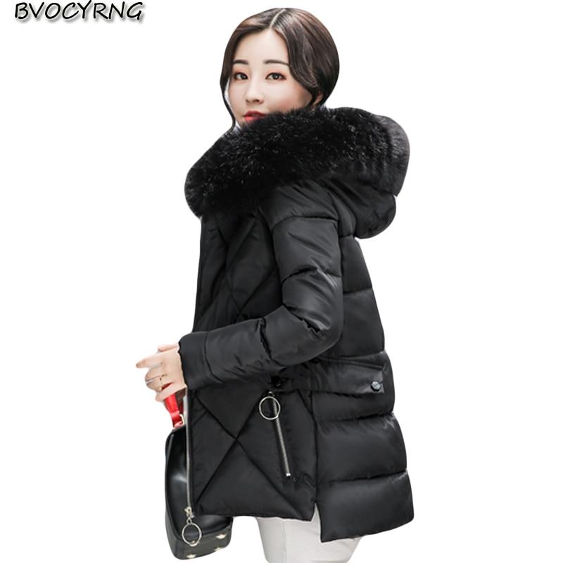 New Winter Women Coat Hooded Plus Size Thickening Warm Outerwear Fashion High-end Elegant Down Cotton Short Jacket Parka Q721