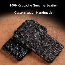 100% Original Crocodile Real Leather Case for iPhone 11 XS max XR 7 8 Plus Luxury Custom Handmade Genuine Back Cover