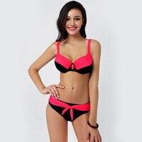 Polovi Push Up Low Waist Large Size Swimsuits 2016 Summer Adjustable Women Girls Bikini Set Sexy