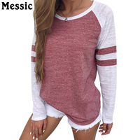Messic Plus Size 3XL 4XL Casual Loose T Shirt Women 2017 Autumn Patchwork Long Sleeve Tee