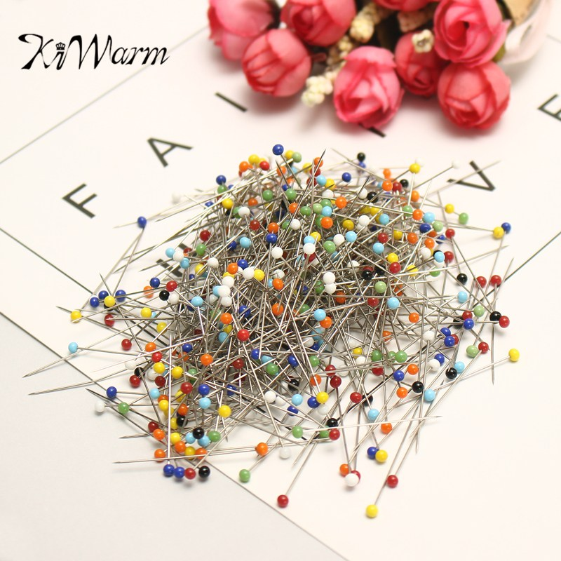 kiwarm portable 500pcs  box glass pearlized head pins multicolor sewing pin for diy sewing crafts