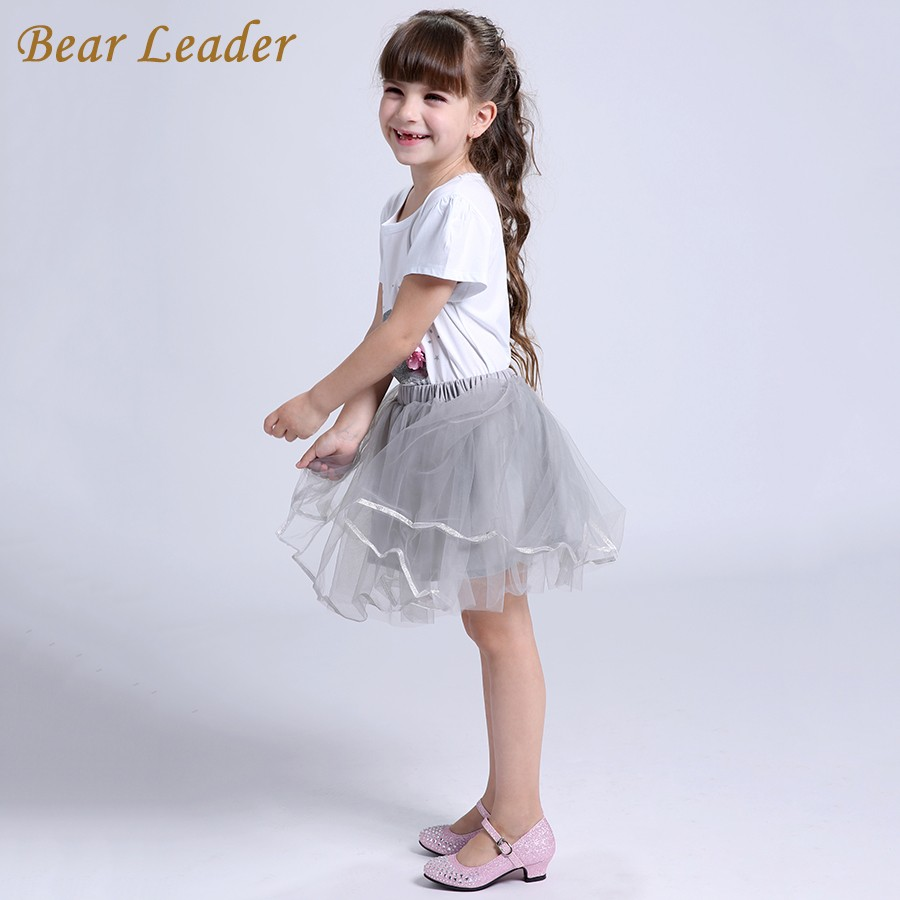 Bear Leader Girls Clothing Sets New Summer Fashion Style Cartoon Kitten Printed T-Shirts+Net Veil Dress 2Pcs Girls Clothes Sets 26