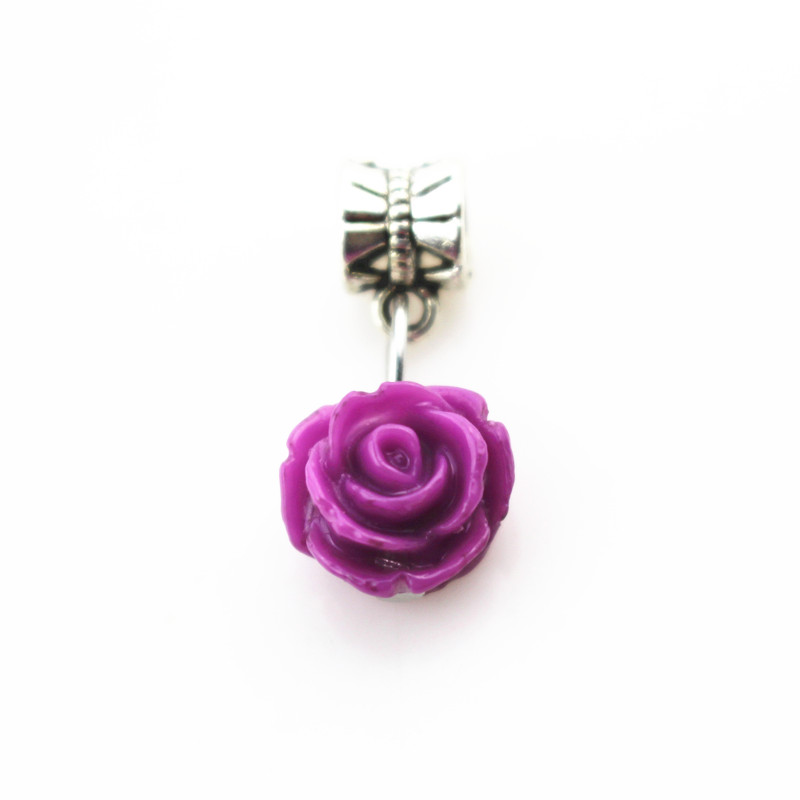 20pcs/lot purple rose flower charms hanging charm big hole pendant bead charm fit pando bracelet diy jewelry dangle charms