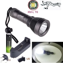 Zoomable 2500lm 80M CREE XML T6 LED Flashlight Underwater Diving Torch Light Waterproof +18650 battery +charger mini portable leisure diving flashlight torch waterproof cree xml l2 led useful recreational diving tool light battery charger