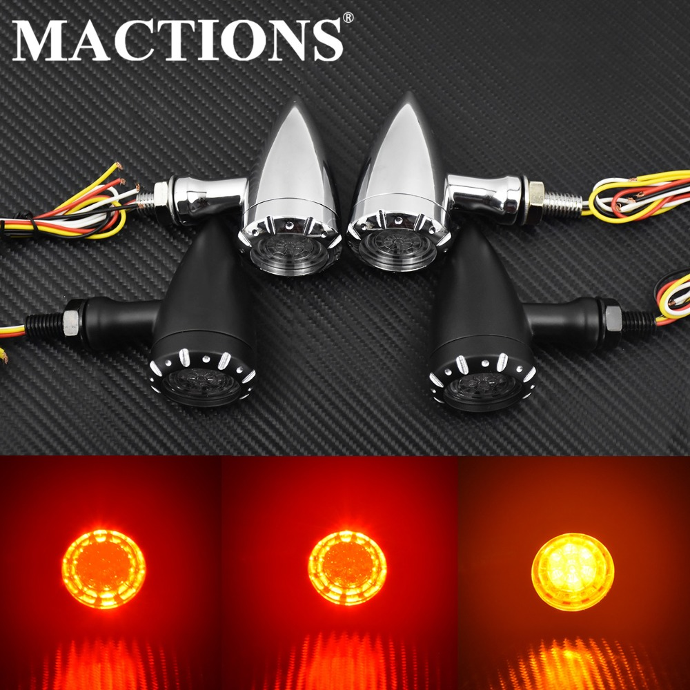 MACTIONS Flashing LED Turn Signals Brake Blinker Light 12v For Harley Chopper Cruiser Bobber Cafe Racer Black Indicator Light