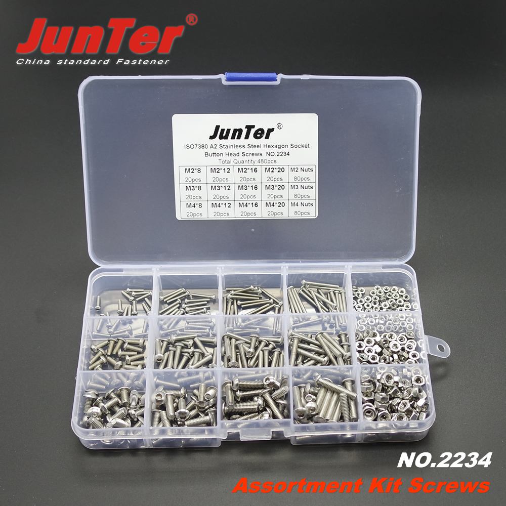 480pcs M2 M3 M4 A2 Stainless Steel ISO7380 Button Head Allen Bolts Hexagon Socket Screws With