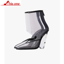 купить THISONE PVC Clear Heels Sandals Women Sexy Pointed Toe Wedge Transparent High Heels Runway Shoes Ankle Strap Summer Boots Female по цене 4244.87 рублей