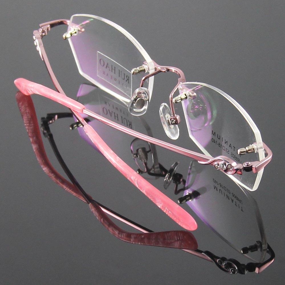 e9cfe640a7e Titanium Eyeglasses Frame Fashion Eyeglasses Women Rimless Glasses Womens  Optical Spectacles Eyewear Frames oculos of grau-in Eyewear Frames from  Apparel ...